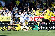 Leeds United midfielder Pablo Hernandez (19) has a cross blocked during the EFL Sky Bet Championship match between Burton Albion and Leeds United at the Pirelli Stadium, Burton upon Trent, England on 22 April 2017. Photo by Richard Holmes.