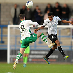 TELFORD COPYRIGHT MIKE SHERIDAN Riccardo Calder of Telford battles for a header with James Spencer of Farsley during the Vanarama Conference North fixture between Darlington and Farsley Celtic at the New Bucks head Stadium on Saturday, December 7, 2019.<br /> <br /> Picture credit: Mike Sheridan/Ultrapress<br /> <br /> MS201920-033