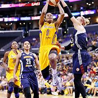 03 August 2014: Los Angeles Sparks guard/forward Alana Beard (0) goes for the layup past Connecticut Sun guard/forward Katie Douglas (23) during the Los Angeles Sparks 70-69 victory over the Connecticut Sun, at the Staples Center, Los Angeles, California, USA.