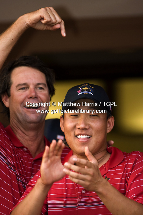Captain Paul AZINGER (USA) celebrates victory with Anthony KIM (USA)  during Singles 2008 Ryder Cup Matches, Valhalla, Louisville, Kentucky, USA.