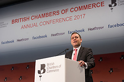 © Licensed to London News Pictures. 28/02/2017. Director General of British Chambers of Commerce DR. ADAM MARSHALL speaks at the British Chambers of Commerce Annual Conference 2017 on growing business in the regions and nations.<br /> London, UK. Photo credit: Ray Tang/LNP