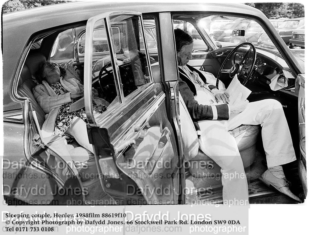 Sleeping couple, Henley. 1988film 88619f10<br />© Copyright Photograph by Dafydd Jones<br />66 Stockwell Park Rd. London SW9 0DA<br />Tel 0171 733 0108