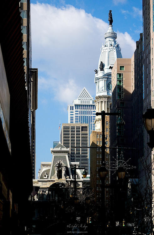 A look north toward Philadelphia's City Hall with the statue of William Penn on top.
