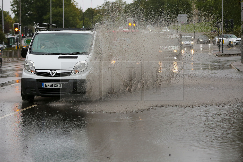 © Licensed to London News Pictures. 02/10/2020. London, UK. A van drives through a flood in north London as Storm Alex arrives from Europe. The Met Office forecasts heavy rain and windy weather for the next few days in the capital, caused by Storm Alex. Photo credit: Dinendra Haria/LNP