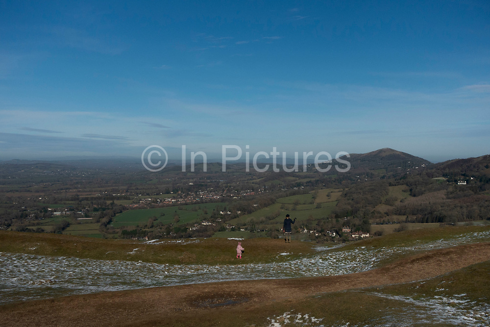 Landscape view from the top of the Malvern Hills in Great Malvern, United Kingdom. The Malvern Hills are a range of hills in the English countryside of Worcestershire, Herefordshire and Gloucestershire.