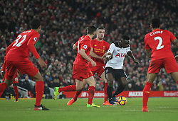 Liverpool players surround Victor Wanyama of Tottenham Hotspur (C) - Mandatory by-line: Jack Phillips/JMP - 11/02/2017 - FOOTBALL - Anfield - Liverpool, England - Liverpool v Tottenham Hotspur - Premier League