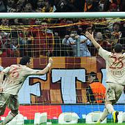 Galatasaray's Servet CETIN (2ndL) goal during their Turkish Superleague soccer match Galatasaray between Sivasspor at the Turk Telekom Arena at Aslantepe in Istanbul Turkey on Sunday 23 January 2011. Photo by TURKPIX
