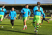 FGR players during the warm up during the Vanarama National League match between Forest Green Rovers and Aldershot Town at the New Lawn, Forest Green, United Kingdom on 5 November 2016. Photo by Shane Healey.