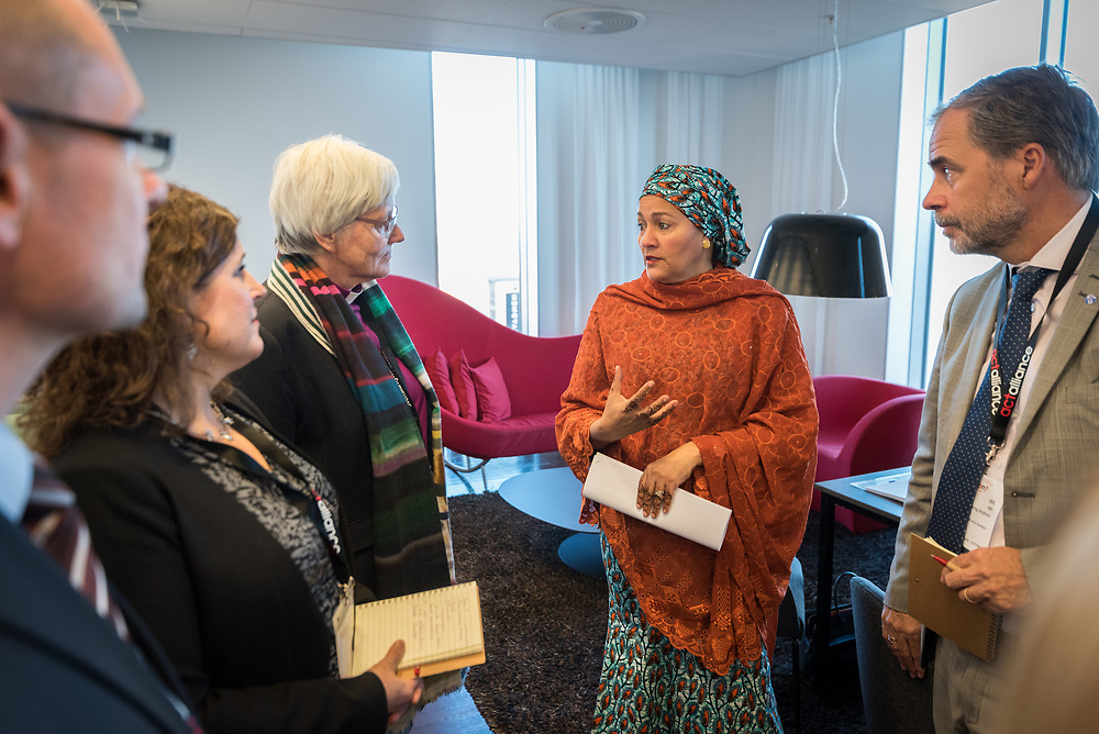 29 October 2018, Uppsala, Sweden: Amina Mohammed (second from the right), Deputy Secretary General of the United Nations,  in conversation with representatives of the Church of Sweden and ACT Alliance.