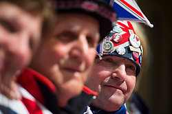 25/04/2015. Royal fan John Loughrey (far left) outside the Lindo Wing of St Mary's hospital in Padding, where The Duchess is due to give birth. Photo credit: Ben Cawthra
