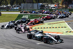September 3, 2017 - Monza, Italy - Race winner LEWIS HAMILTON of Mercedes AMG Petronas F1 Team leads coming out of the chicane at the beginning of the FIA Formula One Grand Prix of Italy. (Credit Image: © Hoch Zwei via ZUMA Wire)