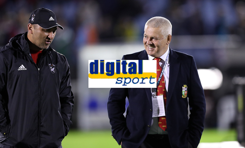 Rugby Union - 2017 British & Irish Lions Tour of New Zealand - New Zealand Provincial Barbarians vs. British & Irish Lions<br /> <br /> Warren Gatland Head Coach of The British and Irish Lions New Zealand talks to Barbarians assistant coach and former All Black Roger Randle before the match at Toll Stadium [Okara Park], Whangarei.<br /> <br /> COLORSPORT/LYNNE CAMERON