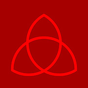 Triquetra, trinity knot illustration. The triquetra is often found in english and irish art, in illuminated manuscripts and as a symbol of trinity in the Christian tradition. From a mathematical point of view the triquetra is a trefoil knot. Red on Red