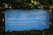 A sign outside the site for a new COVID-19 Lighthouse Laboratory at Royal Berkshire Bracknell Healthspace is pictured on 18 September 2020 in Bracknell, United Kingdom. The Department of Health and Social Care has announced that coronavirus testing capacity will be boosted by the creation of two new Lighthouse Laboratories in Newcastle and Bracknell, with the Bracknell site to be run by Berkshire and Surrey Pathology Services with the target of 40,000 tests processed per day by February 2021.