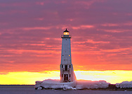 A March sunset at the Frankfort, Michigan Lighthouse