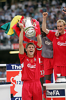 Photo: Chris Ratcliffe.<br />Liverpool v West Ham United. The FA Cup Final. 13/05/2006.<br />Steven Gerrard of Liverpool celebrates by lifting the trophy.