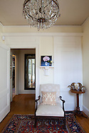 The Portland, Oregon home of Wendy Burden, author of  the memoir, Dead End Gene Pool. The entryway.  The painting on the shelf is by Ms. Burden.