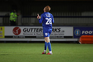 AFC Wimbledon midfielder Alfie Eagan (28) celebrating after scoring goal to make it 4-0 during the EFL Trophy group stage match between AFC Wimbledon and Stevenage at the Cherry Red Records Stadium, Kingston, England on 6 November 2018.