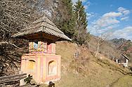Wayside shrine near Srednji vrh, above Kranjska Gora, Slovenia. Juliana Trail and Alpe Adria Trail © Rudolf Abraham
