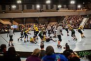 Richmond Wrecking Belles skated against the San Francisco ShEvil Dead in San Francisco, California on Saturday, April 26, 2014.