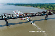 63807-01304 Barge on the Mississippi river and train crossing the Thebes bridge near Thebes, IL
