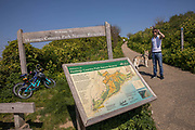 The entrance and route map to Hastings Country Park Nature Reserve on East Hill on the 20th April 2019 in Hastings in the United Kingdom. Hastings is a town on England's southeast coast, its known for the 1066 Battle of Hastings.