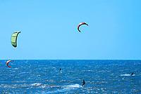 Kite surfing on cumbuco beach near fortaleza in brazil