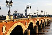 France, Bordeaux, Pont de Pierre, Garonne river.