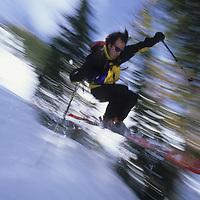 Kris Erickson skiing at Bridger Bowl, Montana.