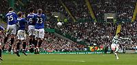 Photo: Paul Thomas.<br /> Glasgow Celtic v Glasgow Rangers. Bank of Scotland Scottish Premier League. 11/03/2007.<br /> <br /> Shunsuke Nakamura (R) of Celtic shoots over the Rangers wall.