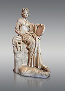 2nd century AD Roman statue of the muse of comedy, Thalia, with a tympanum and a comic mask. A Roman copy of a 4th century BCHellenistic statue, inv 295, Vatican Museum Rome, Italy,  grey background ..<br /> <br /> If you prefer to buy from our ALAMY STOCK LIBRARY page at https://www.alamy.com/portfolio/paul-williams-funkystock/greco-roman-sculptures.html . Type -    Vatican    - into LOWER SEARCH WITHIN GALLERY box - Refine search by adding a subject, place, background colour, museum etc.<br /> <br /> Visit our CLASSICAL WORLD HISTORIC SITES PHOTO COLLECTIONS for more photos to download or buy as wall art prints https://funkystock.photoshelter.com/gallery-collection/The-Romans-Art-Artefacts-Antiquities-Historic-Sites-Pictures-Images/C0000r2uLJJo9_s0c
