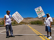 06 JULY 2005 - KEARNY, AZ: Picket line activity against Asarco facilities in Kearny and Hayden, AZ. Workers are claiming Asarco, now owned by Mexican conglomerate Grupo Mexico, is not bargaining in good faith. PHOTO BY JACK KURTZ