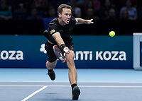 Tennis - 2017 Nitto ATP Finals at The O2 - Day Two<br /> <br /> Mens Doubles: Group Woodbridge/Woodforde: Jamie Murray (Great Britain) & Bruno Soares (Brazil) Vs Bob Bryan (United States) & Mike Bryan (United States)<br /> <br /> Bruno Soares (Brazil) stretches to reach the ball at the O2 Arena<br /> <br /> COLORSPORT/DANIEL BEARHAM