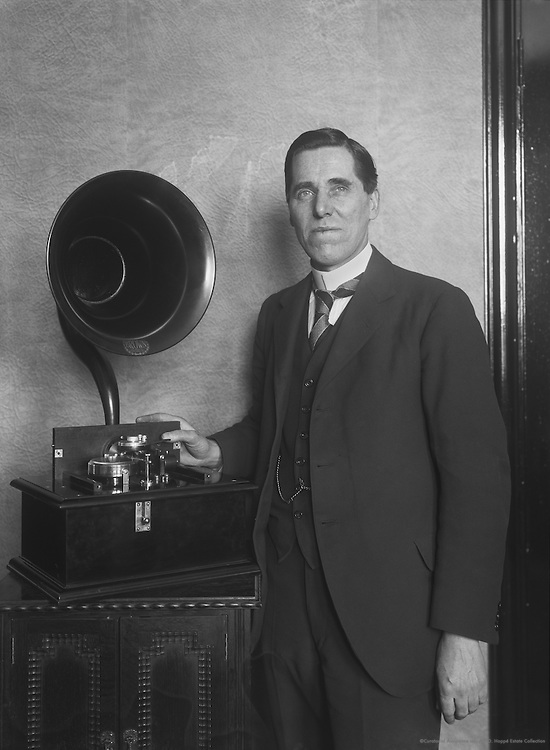 Sidney George Brown, electro-acoustic pioneer and inventor, with an early S.G.Brown radio, 1924