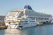 Cruise Ship and private yacht at Prince George Wharf, Nassau, Bahamas, Caribbean