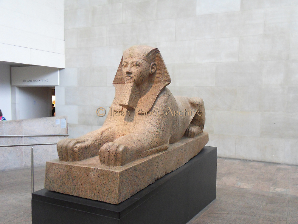 Sphinx of Hatshepsut. New Kingdom 18th Dynasty, Joint reign of Hatshepsut and Thutmose III. ca. 1473–1458 B.C. Egypt, Upper Egypt; Thebes, Deir el-Bahri, Senenmut Quarry