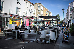 © Licensed to London News Pictures. 23/08/2019. London, UK. Steel drums lie in the street ahead of the 2018 Notting Hill Carnival which starts this weekend. Warm weather is expected over the bank holiday weekend with carnival attracting over 1 million people to the capital. Photo credit: Ben Cawthra/LNP
