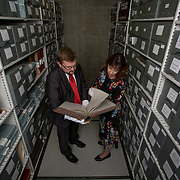 25.08. 2017.                                                      <br /> Limerick City and County Council Archives have become available in digitised Online platform. <br /> Pictured at Lissalta House in the Limerick City and County Council Archive were, William O'Neill, Limerick Archives and UL Scholar and Jacqui Hayes, Limerick City and County Council Archivist. Picture: Alan Place