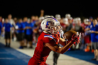 Folsom Bulldogs CJ Hutton (3), catches the ball for a touchdown to trail 42-21 after the point after attempt was good as the Folsom High School Bulldogs host the De La Salle Spartans, Friday Sep 13, 2019.