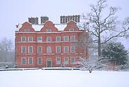 Snow at Kew Palace in Kew Gardens, Kew, London, UK