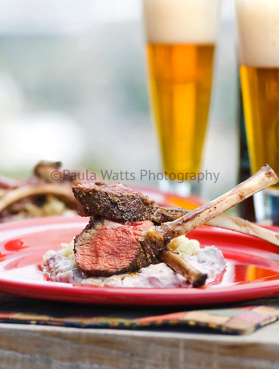 lamb chops with beer in outdoor setting