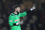 Josh Vickers, the Barnet goalkeeper looks on.EFL Skybet football league two match, Newport county v Barnet at Rodney Parade in Newport, South Wales on Tuesday 25th October 2016.<br /> pic by Andrew Orchard, Andrew Orchard sports photography.
