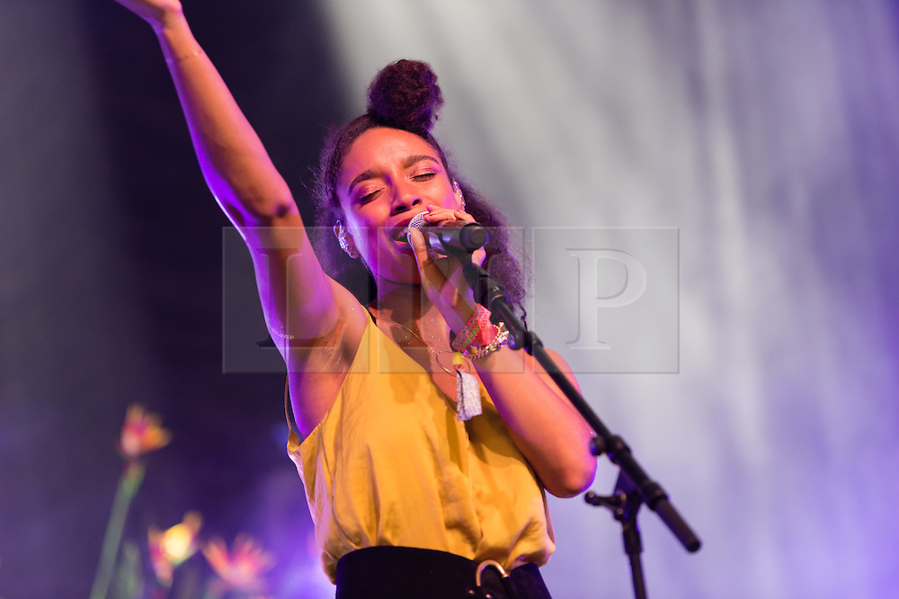 © Licensed to London News Pictures. 28/06/2015. Pilton, UK. Lianne La Havas performing at Glastonbury Festival 2015 on Sunday Day 5 of the festival on the John Peel Stage stage.  This years headline acts include Kanye West, The Who and Florence and the Machine, the latter being upgraded in the bill to replace original headline act Foo Fighters.  Photo credit: Richard Isaac/LNP