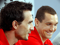 GEPA-1406081362 - STEGERSBACH,AUSTRIA,14.JUN.08 - FUSSBALL - UEFA Europameisterschaft, EURO 2008, Nationalteam Oesterreich, Pressekonferenz. Bild zeigt  Martin Stranzl und Emanuel Pogatetz (AUT).<br />