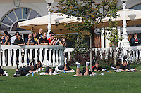 Manchester United players make a short stretching session in the court of the Grand Hotel Italia, in Cluj-Napoca, Romania, 450 km north west from Bucharest, tuesday 2 october 2012, before the game against CFR Cluj, in group H of Champions League.
