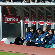 Torku Konyaspor's coach Aykut Kocaman (L) during their Turkish Super League soccer derby match Torku Konyaspor between Galatasaray at the Konya Buyuksehir Belediyesi Torku Arena at Selcuklu in Konya Turkey on Saturday, 13 December 2014. Photo by Kurtulus YILMAZ/TURKPIX
