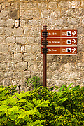 Street sign to local churches in Sudurad, Sipan Island, Dalmatian Coast, Croatia