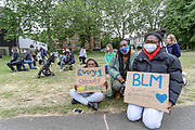 """Hackney kids alongside with their parents and teachers, took a kneel, chanted """"Black Lives Matter"""" and walked against racism in London, Saturday, Jun 6, 2020 - in response to protest against the recent killing of George Floyd by police officers in Minneapolis, USA, that has led to protests in many countries and across the US. A US police officer has been charged with the death of George Floyd. (Photo/ Vudi Xhymshiti)"""