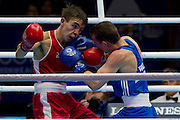Mcc0055084 . Daily Telegraph<br /> <br /> Wales' Sean McGoldrick vs Northern Ireland's Michael Conlan in the Men's Bantam (56kg) Semi-final 1 on Day 9 of the 2014 Commonwealth Games .<br /> <br /> <br /> Glasgow 1 August 2014