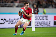 Josh Adams of Wales retrieves the ball during the Rugby World Cup bronze final match between New Zealand and Wales Friday, Nov, 1, 2019, in Tokyo. New Zealand defeated Wales 40-17.  (Flor Tan Jun/Espa-Images-Image of Sport)